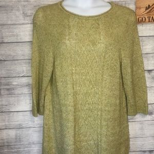 cj banks Green 3/4 Sleeve Open Knit Sweater SZ 1X
